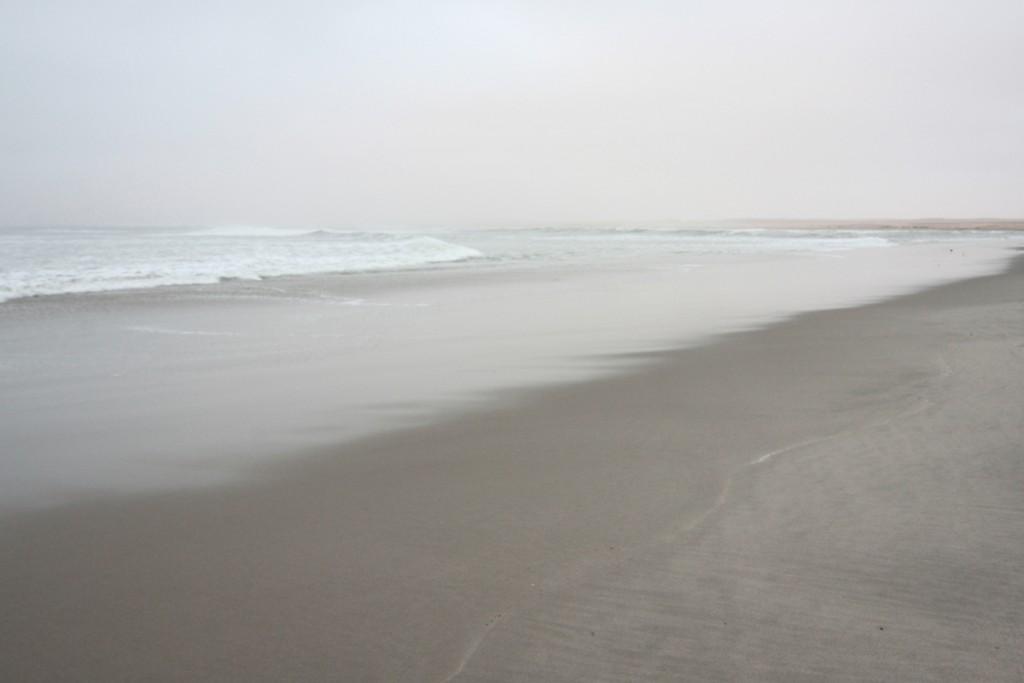 alla sera, quando il sole cala dietro la nebbia, i colori della spiaggia diventano ancora più onirici