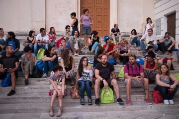 La prima lezione in piazza San Giovanni a Matera