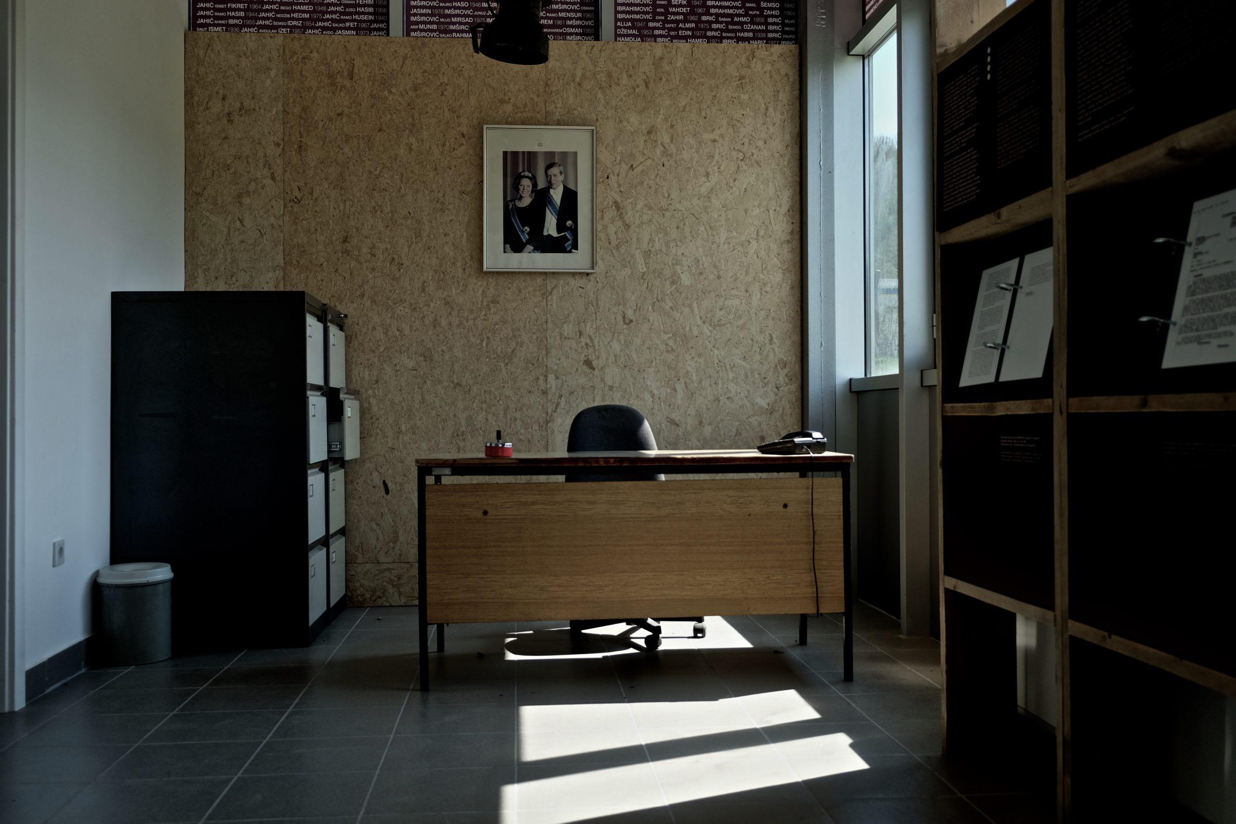 Ricostruzione dell'ufficio del comandante Carremans a Potocari, Srebrenica.