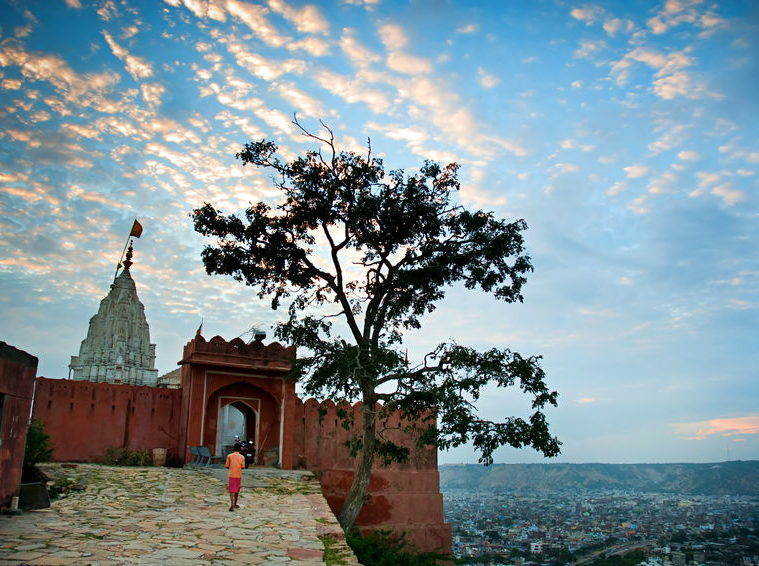 Sun temple or monkey temple, jaipur, rajasthan, india. a small but very interesting temple, on the hill below the city. it has an amazing view of whole jaipur. Photo Credit: Olena Tur