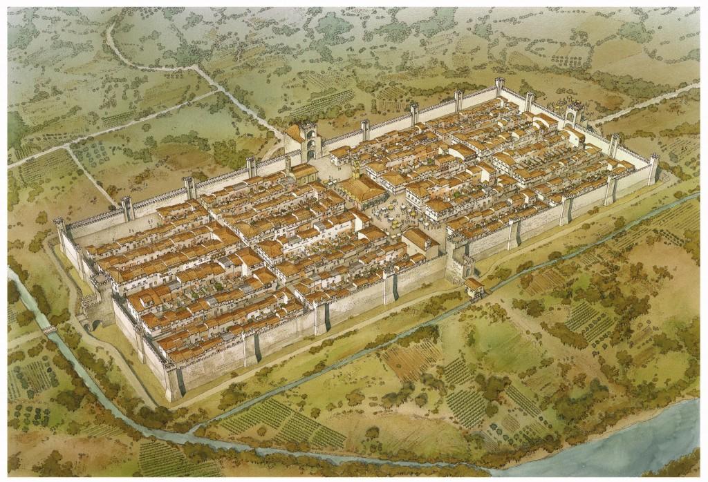 2- Museo delle Terre Nuove, Ricostruzione ideale di Castel San Giovanni alla fine del Medioevo, illustrazione Inklink