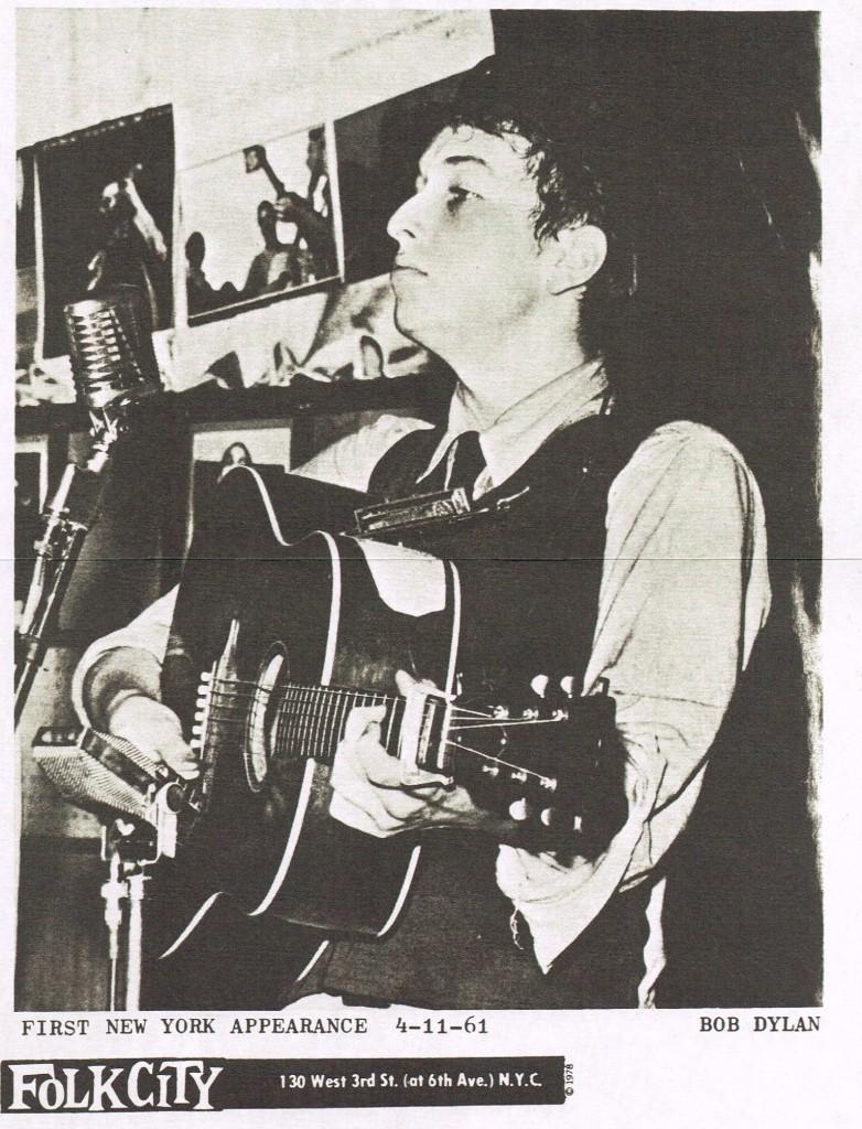 il poster della prima apparizione di Bob Dylan a New York l'11 aprile 1961 al Folk City.
